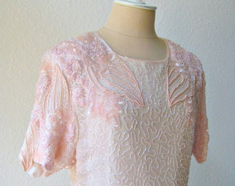 vintage exquisite beaded pale pink sheer silk chiffon shimmering party dress.  x-large