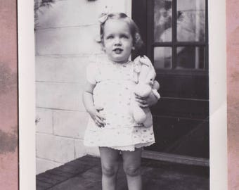Vintage Photo, Blonde Baby Girl Stands on Steps with Doll, Vernacular, 1946, Dress, Summer, Baby Shoes, Rabbit Ear Doll, Beautiful, Pretty