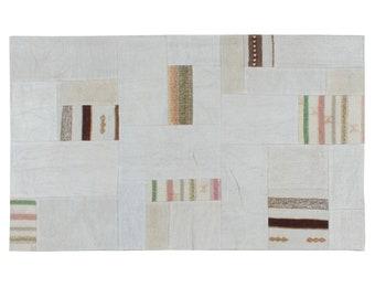 Beige patchwork - 150cm x 90xm hemp