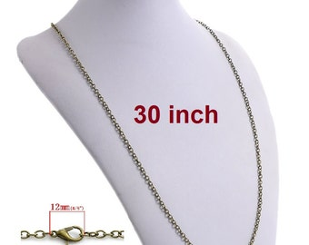 """12 pcs. Antique Bronze Cable Chain Link Necklaces 30"""" - (3 x 4mm Links) - Lobster Clasps - Claw Clasps"""