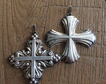 Vintage Christmas Cross from Reed and Barton - SET of 2 - 1980 and 1983 / Sterling Silver