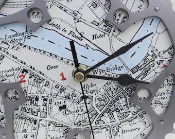 Cycleclock Bike clock Recycled bike clock Bike disc clock clock gift