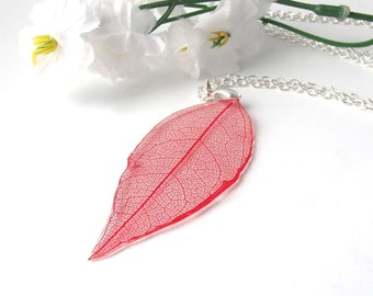 Real skeleton leaf necklace in red  - silver plated long necklace - botanical, nature inspired jewellery handmade in the UK