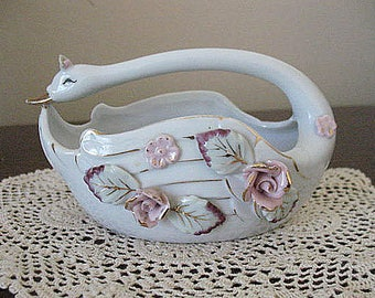 Vintage Chase Pottery Swan Planter