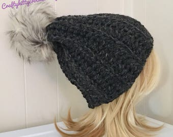 READY TO SHIP Chunky Crochet Hat with Faux Fur Pom Pom - Smoky Charcoal/Black - Wool Blend - Women's / Teens