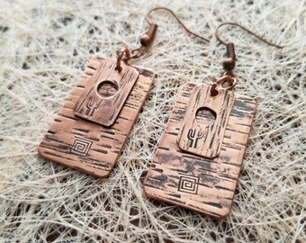 Two-Piece Earrings w/Cactus Stamp Pure Copper