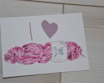 Card postcard I love yarn (Pink)