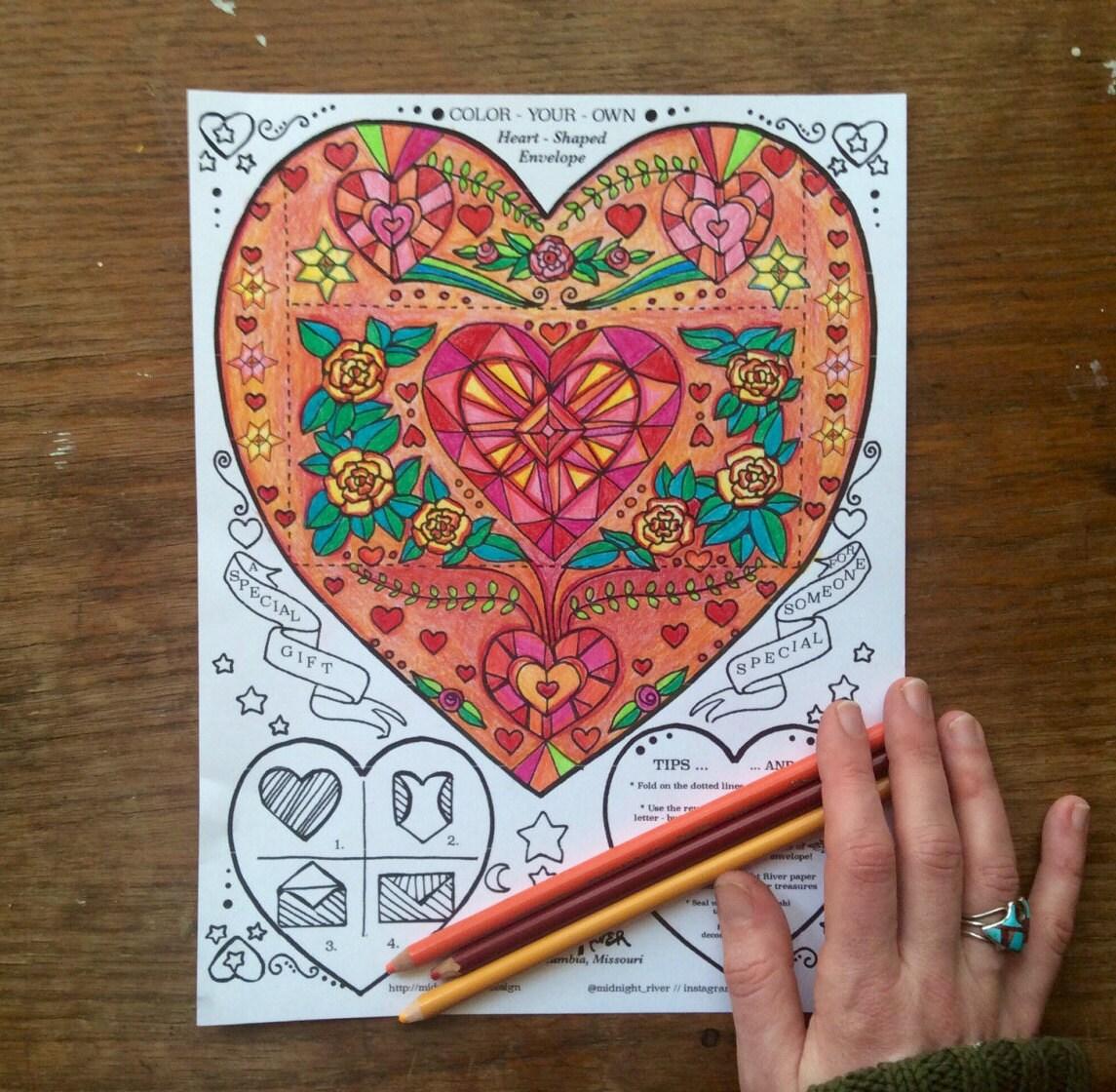 Printable Envelope Template // Heart Shaped Design // Coloring ...