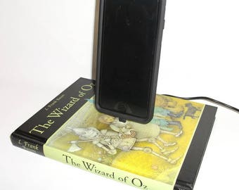 IPhone 5, 6, or 7  Charging Dock, The Wizard of Oz Book, Docking Charger Station