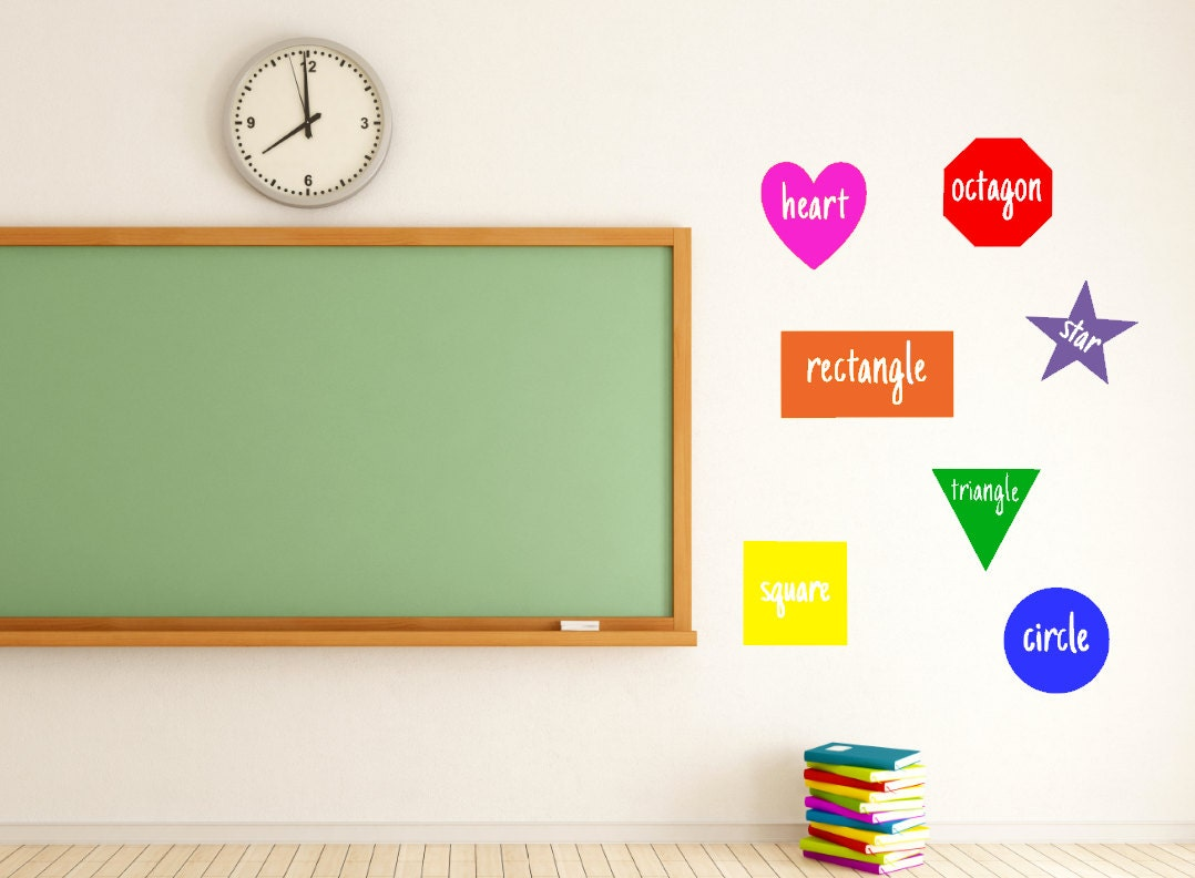 Classroom Wall Decorations For Teachers ~ Shapes teacher vinyl decal classroom decor