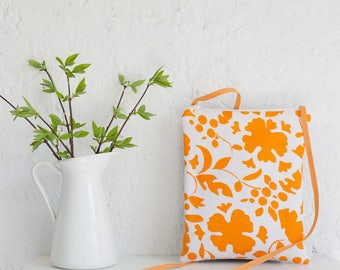 A small handmade fabric crossbody bag with orange flowers, an elegant and unique bag, a perfect womens bag gift, an unique gift for her