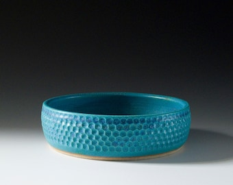 Hand carved stoneware planter / bowl with turquoise glaze 16-072