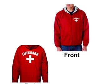 LIFE GUARD Red Jacket Windbreaker Fleece Lined Life Guard YMCA Pool Staff