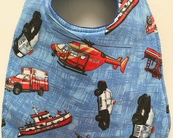 Baby Bib:  Emergency Vehicles Police Car Ambulance Helicopter Fire Rescue