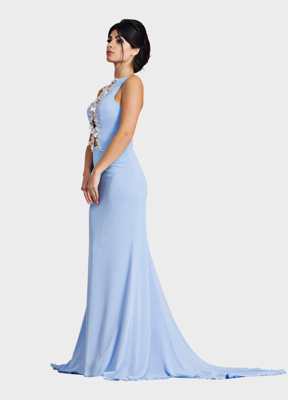 Blau chiffon blaue Trompete Kleid Brautjungfernkleid Mutter