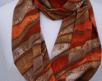 Collar, ethnic orange brown polyester scarf