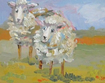 Two Woolly sheep in the pasture 10x8 oil panting Art by Delilah
