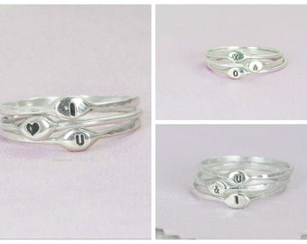 Initial Ring, Initial Rings, Silver Initial Ring, Custom Initial Rings, Dainty Initial Ring, Gift for Her, BOHO Initial Ring, Unique Rings