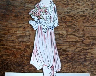 Antique Edwardian 1910s  Die Cut Hand Colored Unused Place Card place Pink Gown Scrapbook Supply Paper Ephemera
