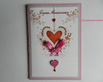 Greeting card. Shabby style Valentines card, girly. Handmade, handcrafted