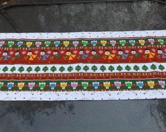 Closeout Sale - Christmas Table Runner With Snowmen, Angels and Trees