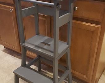 Little Helper Stools / Learning Tower / Toddler Step Stool  Dark Grey