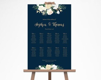 Wedding Seating Chart, Floral Wedding Seating Sign, Navy Gold Wedding Seating Plan, Wedding Seating Chart Template