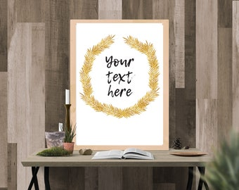 Customize Personalize Digital Print - Quote any text (gold foil branch border)