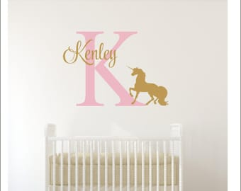 Unicorn Wall Decal-Personalized Unicorn Decal-Girls Bedroom Decor-Unicorn Decal-Unicorn Decor-Girls Nursery Decal-Girls Unicorn Bedroom