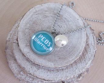 PCOS Jewelry, PCOS Necklace, PCOS Awareness, Awareness Necklace, Teal Jewelry, Awareness Ribbon, Awareness Gifts, Survivor Jewelry, Hope