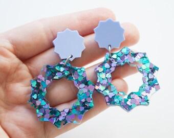 Sun and stars dangle / drop earrings   Peacock glitter and lilac   Laser cut acrylic   Handmade