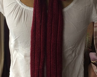 Scarf knitted hands, bow lingerie, mohair and alpaca wool, Burgundy, 210cm