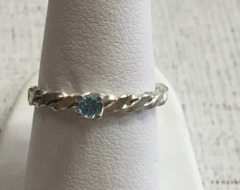 Blue Topaz Argentium Sterling Silver Ring. Size 7