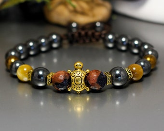 gemstone bracelet turtle totem bracelet Everyday Bracelet charm bracelet Best Friend Gift Beauty Gift Beaded Bracelet black turtle jewelry