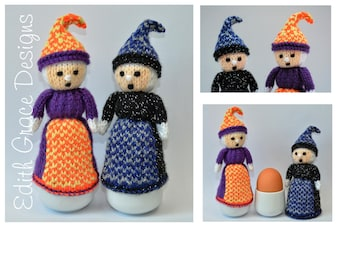 Halloween Witch Egg Cosy, Toy Knitting Pattern, Doll Knitting Pattern, Witch Doll, Witch Hat, Halloween Gift, Yarn Knit Doll, Witch Costume