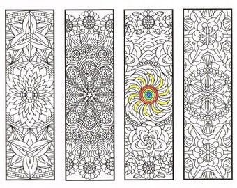 Coloring Bookmarks - Flower Mandalas Page 2 - coloring for adults, big kids and your resident bookworm - four printable bookmarks to color
