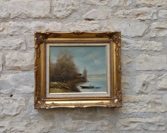 Oil on canvas painting, 'abord du lac' in wood and gilt frame circa mid century.