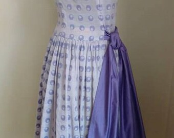 1950's Charming BETTY BARCLAY Lavender Dress w/ Attached Sash