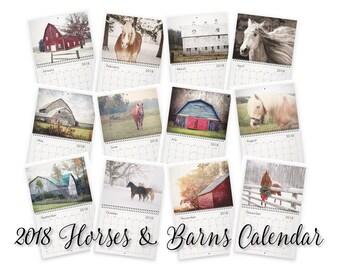 2018 Wall Calendar, 2018 Calendar, 2018 Horses and Barns Calendar, 2018 Horse Calendar, 2018 Barn Calendar