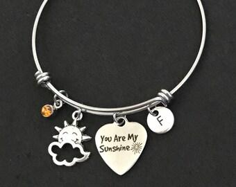 Personalized You Are My Sunshine Bangle Bracelet