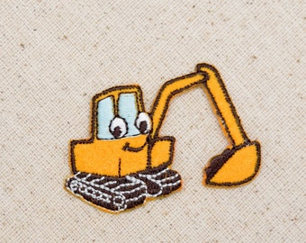 Digger - Yellow Backhoe - Childrens - Construction - Embroidered Patch -  Iron on Applique - 695796A