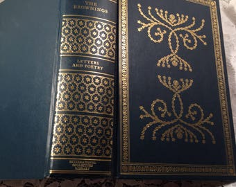 The Brownings, Letters and Poetry by Elizabeth Barrett and Robert Browning, 1970, International Collectors Library, Tree of Life Binding.