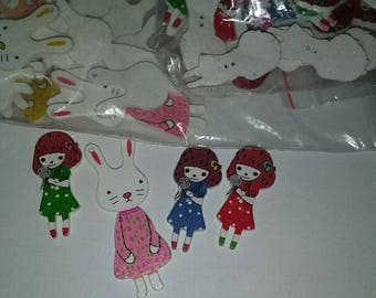 Bunny Pendants, Lolly Pop Girl Wooden Buttons Craft Supplies Large Lot 100 pieces for Party favors, , Birthday Party Favors