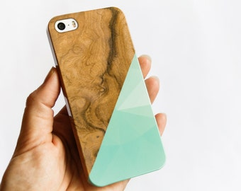 iPhone 6 Case Mint Geometric Wood Print iPhone 5 Case, Faux Wooden iPhone 5S Case, Triangle iPhone 6 Plus Case, Popular iPhone 6 +