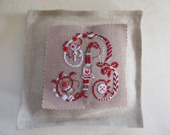 Small cushion letter B cross stitch
