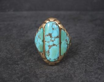 Mens Vintage Navajo 14K Turquoise Ring Size 13