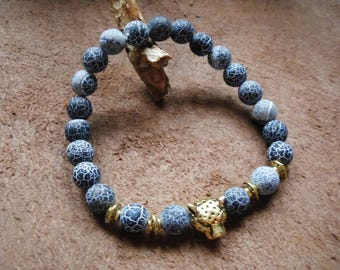 Crackled dragon vein agate stone Beads Bracelet