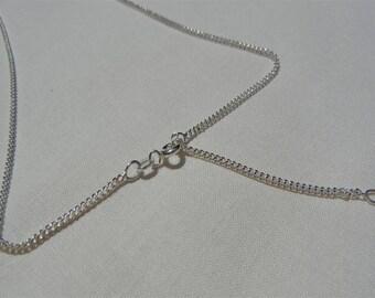 Chain Fine Sterling Silver 925 effect diamente adjustable 40 / 45CM