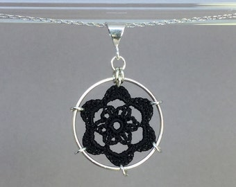 Peony doily necklace, black silk thread, sterling silver
