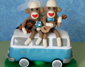 Sock Monkey Wedding Cake Topper sock monkeys sitting on a van